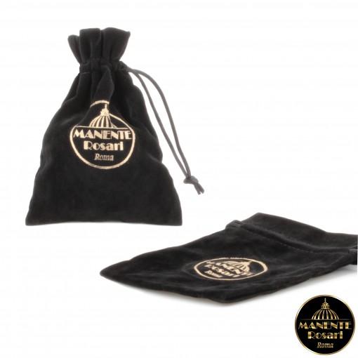 Sacchetto portarosario bifloccato nero Made in Italy