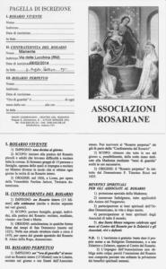 Pagella di Iscrizione alle Confraternite del Santissimo Rosario