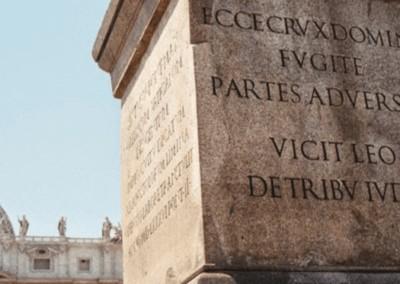 Obelisco di Piazza San Pietro con il motto (breve) di Sant'Antonio | MANENTE Rosari (Roma)