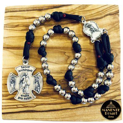 Corona Angelica Artigianale in Acciaio e Paracord Nero