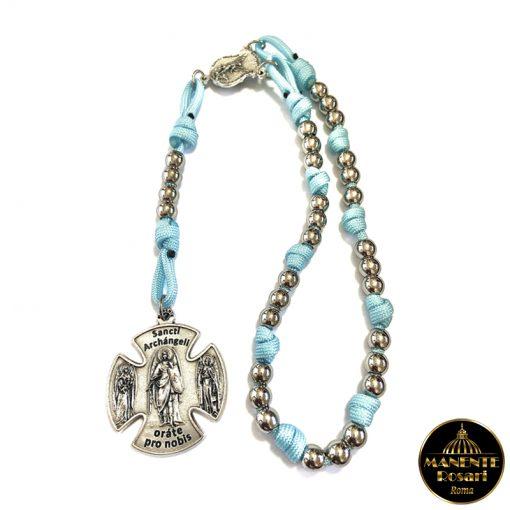 Corona Angelica - Rosario di S. Michele in Acciaio e Paracord Celeste