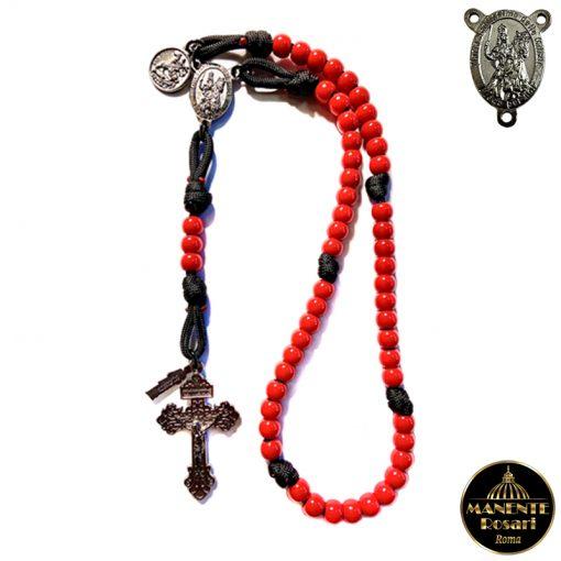 Vendita Online Rosario alla Madonna delle Milizie in Resina Rossa e Paracord Nero