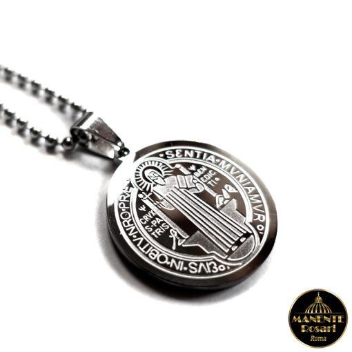 Collanina in acciaio inossidabile con Medaglia di S. Benedetto da Norcia