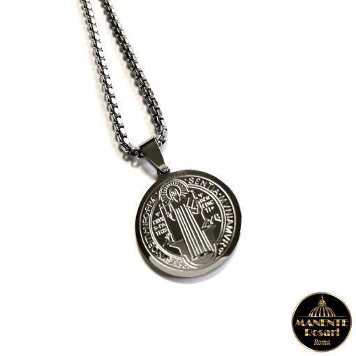 Collanina in acciaio con Medaglia di San Benedetto